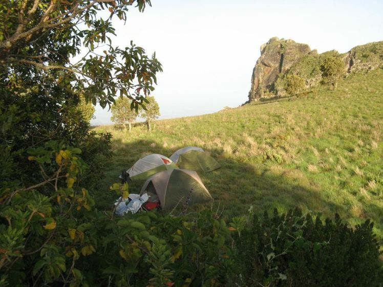 Camping just bellow the peak